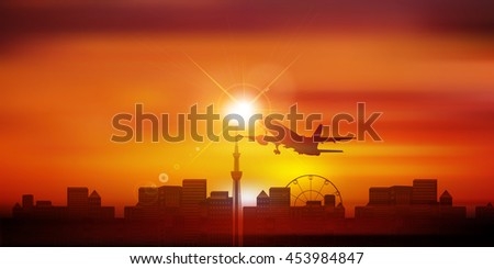 Airplane Tokyo landscape background