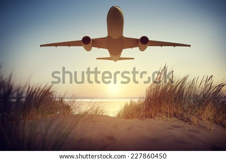 Airplane Transportation Travel Flying Concept - stock photo