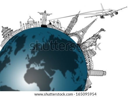 Airplane travel in the world ,around the global with sketch drawing. - stock photo