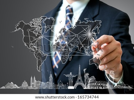 Airplane travel in the world ,around the global with sketch drawing - stock photo