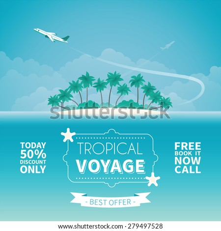 Airplane travel or tropical voyage bitmap concept in flat style - stock photo