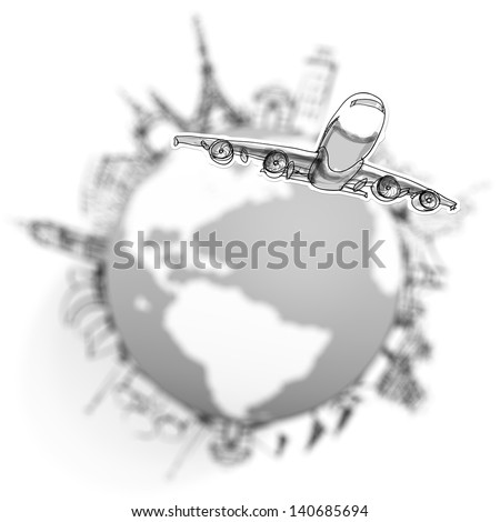airplane traveling around the world as concept - stock photo
