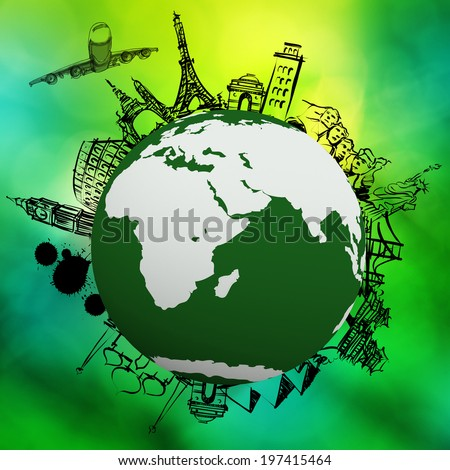 airplane traveling around the world on green nature background as concept  - stock photo