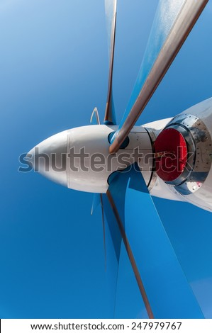 Airplane turbine blades close-up abstract texture. background - blue sky