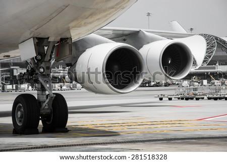 airplane turbine detail - stock photo