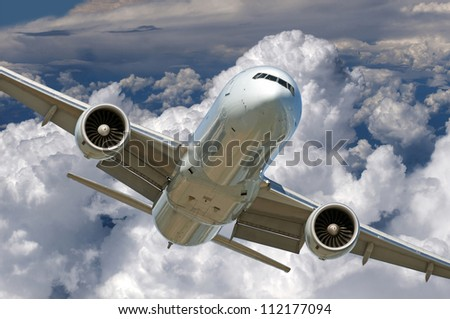 Airplane - Two jet engine aircraft in the cloudy sky - stock photo