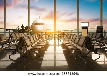 Airplane, view from airport terminal. - stock photo