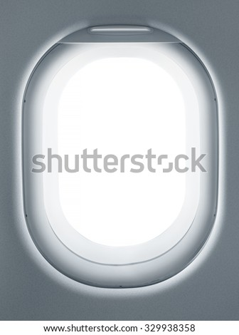 Airplane window from interior of aircraft. Business travel template for your ideas of view through porthole with clipping path - stock photo