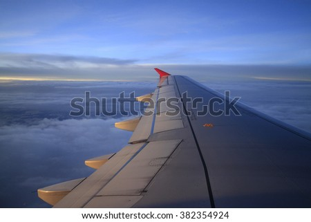 Airplane window view - stock photo