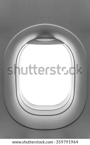 Airplane window. View has been removed from the image - stock photo