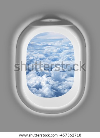 airplane window with cloud - stock photo