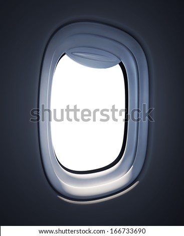 Airplane window with white background - stock photo