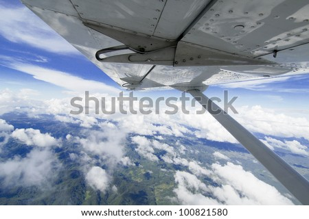 airplane wing viewing - stock photo