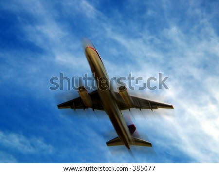 airplane with a motion blur