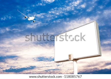 Airplane with blank billboard, travel andvertisement
