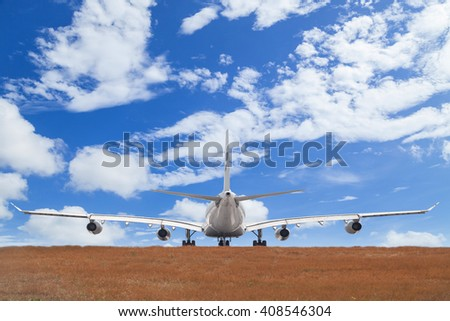 Airplane with  blue sky  background - stock photo