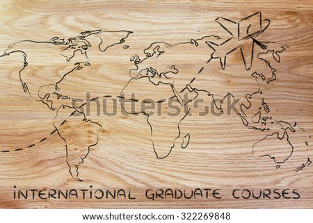 airplane with graduation hat flying above world map, concept of international graduate courses