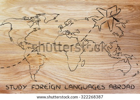 airplane with graduation hat flying above world map, study foreign languages abroad