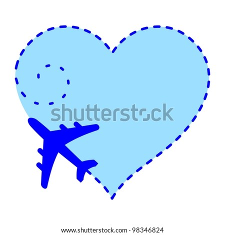 Airplane with heart track in the sky. Illustration - stock photo