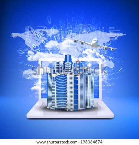 Airplane with the background of skyscrapers on laptop. Business concept