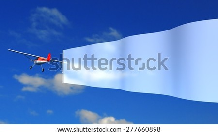 airplane with white banner - stock photo