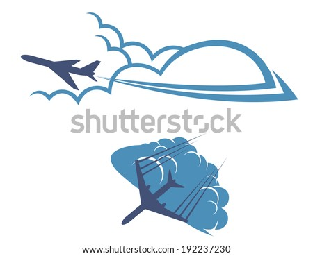 Airplanes in sky for transportation and travel industry design. Vector version also available in gallery - stock photo