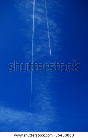 airplanes runway on the sky - stock photo
