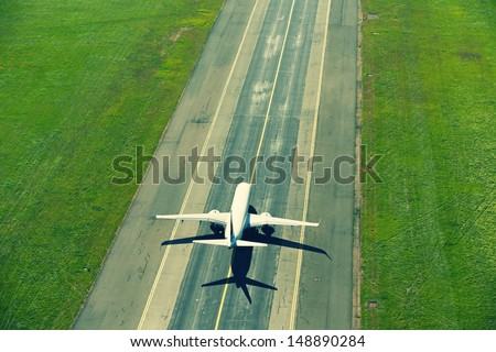 Airport - airplane before take off - stock photo