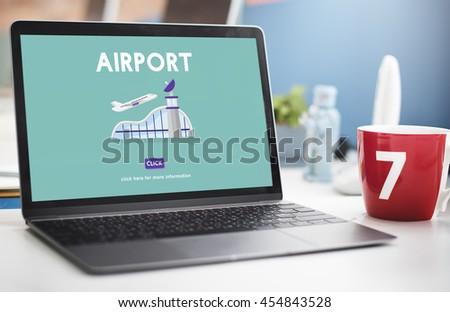 Airport Airplane Flight Destination Journey Concept - stock photo