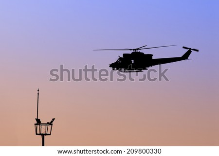 Airport and Helicopter - stock photo
