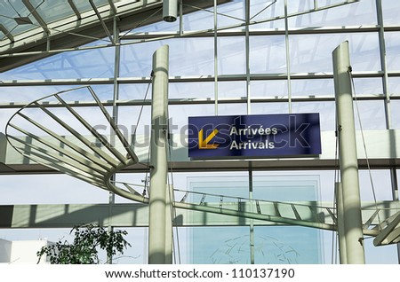 Airport Arrivals sign - stock photo