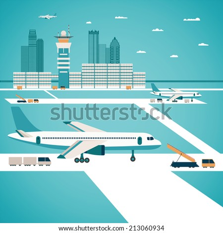 Airport concept with aircraft luggage transporter buildings and runway - stock photo