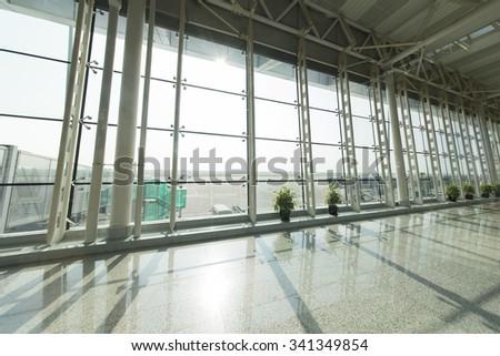 Airport corridor - stock photo
