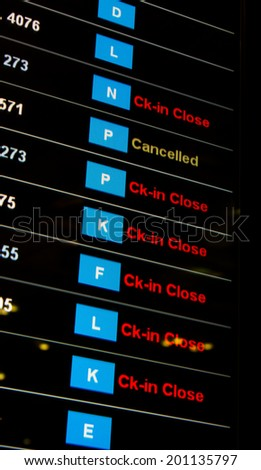 Airport crisis departure table delayed open and cancelled flights