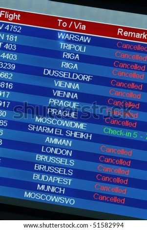 Airport departure board in one of European airports. Cancelled flights because of iceland volcanic eruption.