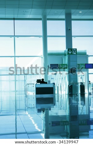 Airport departure gate - stock photo