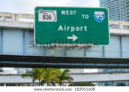 Airport directions. Interstate sign. - stock photo