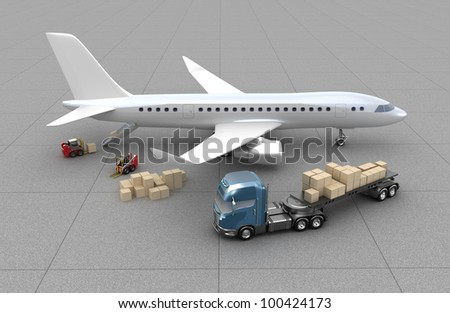 Airport : forklifts is loading the airplane. My own design