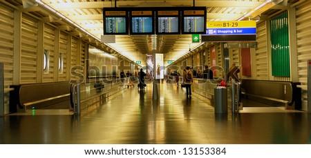 Airport gate corridor - stock photo