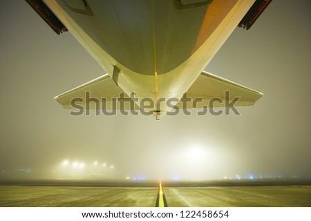 Airport in the night, Vaclav Havel Airport Prague - stock photo