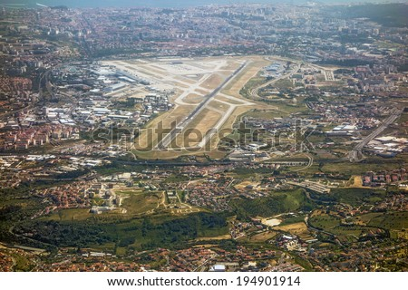 Airport Lisbon, Portugal, aerial view - stock photo