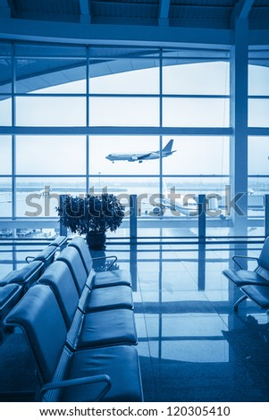 airport lounge with the window outside scene - stock photo