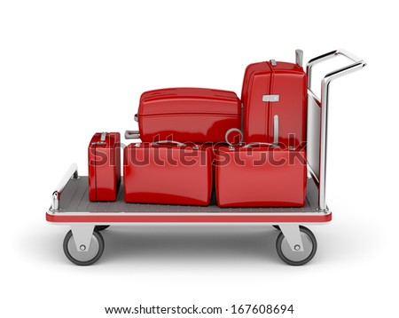 Airport luggage cart with red suitcases on white background - stock photo