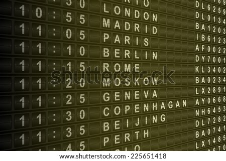 Airport mechanical flight departure board illustration