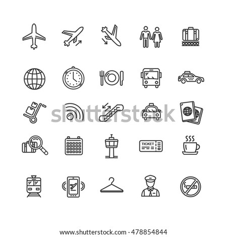 Airport Outline Icon Set Isolated on White Background. Design Elements for Website. illustration
