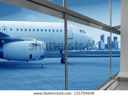 airport outside the window scene,waiting for the flight - stock photo