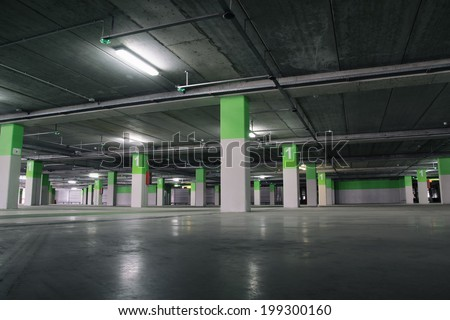 Airport Parking garage underground, industrial interior. - stock photo