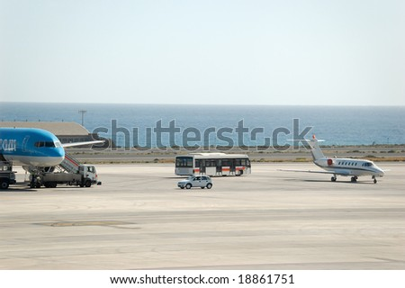 Airport Ramp at Grand Canary with Atlantic Ocean behind. - stock photo
