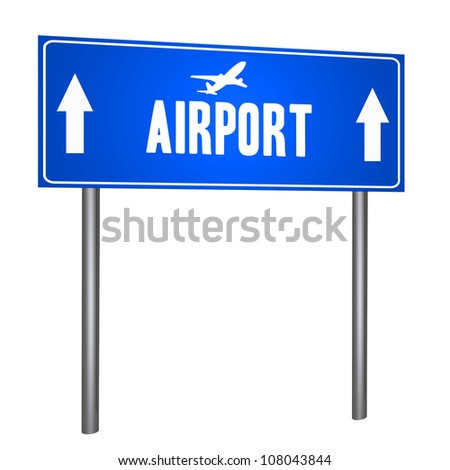 Airport road sign isolated on withe - stock photo