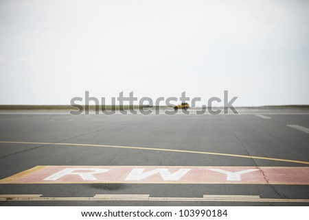 Airport runway, Prague, Czech Republic - selective focus - stock photo